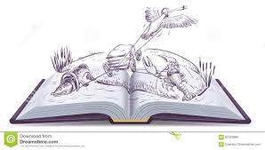 open book fable of swan pike and crawfish isolated on white vector cartoon ilration