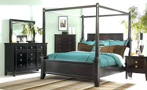 Platform Canopy Bed Frame Queen Contemporary Black Antique Chestnut ...