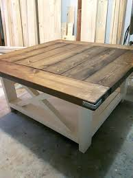farmhouse wood coffee table square coffee table in dark walnut and antique white paint love this farmhouse wood coffee table