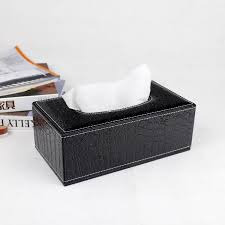 magnetic lock wooden struction leather rectangle tissue box holder napkin box toilet paper holder dispenser case croco black240a