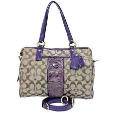 coach f 24884 signature 2 way handbag shoulder bag purple canvas patent leather reebonz canada