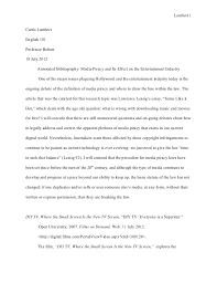 essay annotated bibliography revised final copy  lambert 1curtis lambertenglish 101professor bolton18 2012 annotated bibliography media piracy and its effect