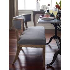 Curved dining bench Dining Room Kathy Kuo Home Livingston Modern Classic Curved Back Grey Dining Bench Kathy Kuo Home