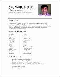 Resume Sample Format For Ojt Gentileforda Com