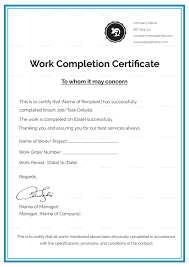 Work Completion Certificate Template In 2019 Business