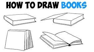 how to draw books in 4 diffe angles perspectives open closed etc how to draw step by step drawing tutorials