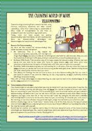 english teaching worksheets the world of work reading the changing world of work telecommuting comprehension essay key included level intermediate age 12 17 s 412