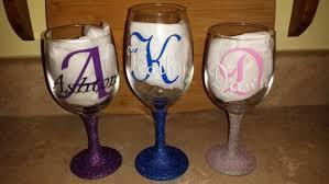 personalized wine glasses glittered stem wine glasses gift custom wine glass party