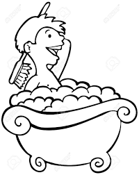 take a bath clipart black and white