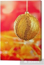 Leinwandbild Weihnachtskarte Der Goldenen Christbaumschmuck Und Rot Unschärfe