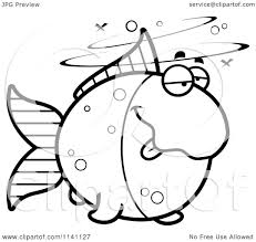 Cartoon Clipart Of A Black And White Drunk Goldfish - Vector ...