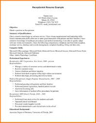8 Resume Format For Receptionist Job Inventory Count Sheet