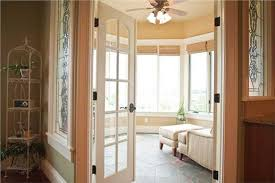home office doors with glass. A Multi-panel Glass Door Opens To The Sitting Area Of This Master Suite In Two-story Luxury Country Home (Plan # 161-1030). Touch Green Paint And Office Doors With