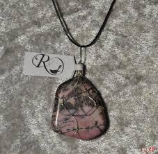 rhodonite stone wire wrapped healing heart chakra reiki crystal pendant jewelry