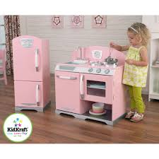 Kid Craft Retro Kitchen Kidkraft Pink Retro Wooden Play Kitchen And Refrigerator Walmartcom