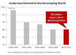 World Hunger Chart Global Hunger 870 Million Undernourished 12 Of The World