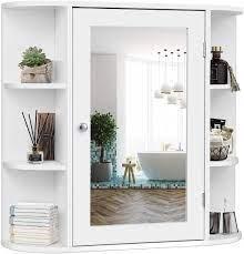Amazon Com Tangkula Bathroom Cabinet Single Door Wall Mounted Medicine Cabinet With Mirror 4 Tiers Inner Shelves Kitchen Dining