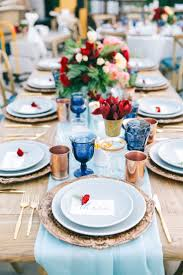 Page Blue Dinner Plates and Table Runners - elegant table setting  inspiration for a 4th of