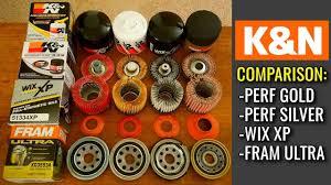 Kn Oil Filter Chart K N Oil Filters Cut Open Performance Gold Vs Performance Silver Vs Wix Vs Fram
