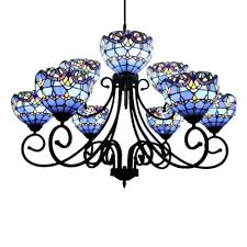 0c5a23845 blue orange stained glass victorian style chandelier with wrought iron black 9c63c3