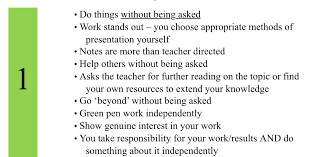 do we want students that show pride in their work or that follow bullets 1 2 3 and 9 can be linked to presentation i want my students not to do what i ve told them because i ve told them to but do it because it was