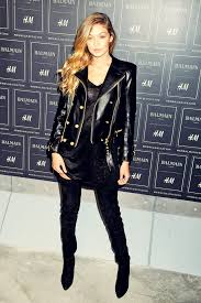 gigi hadid leather jacket gold ons balmain h and m collection