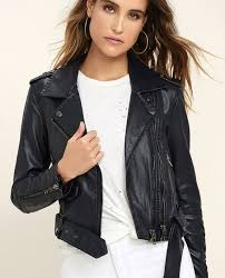 blank nyc classic midnight blue vegan leather moto jacket