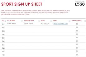 Printable Sign Up Sheets Templates Sports Sign Up Sheet Template