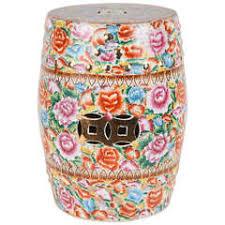 ceramic garden seat. japanese pink ceramic garden seat with lucky coins