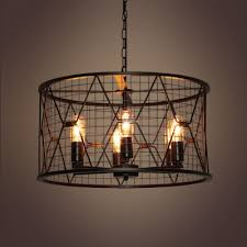 industrial 6 light chandelier with 21 7 w cylinder metal cage