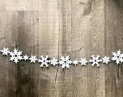 Snowflake Garland // Snowflake Banner // Wool Felt Snowflakes // Snowflakes  //