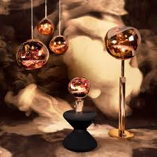 the tom dixon melt luminaires in copper floor lamp table lamp pendant