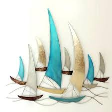 boats sea life feature art metal wall hanging home of temptations boats sea life feature art nautical metal wall art  on metal wall art sailing yachts with sailboat metal wall art sailboat island black and white sailing