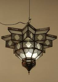 metal large moroccan star shape frosted glass chandelier shade for