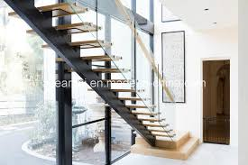 modern single beam straight staircase steel stair with tempered glass barade