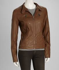 love this product camel tab collar faux leather jacket women