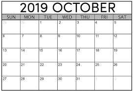 October Calendar 2019 Printable Template Free Download