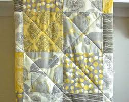 Modern handmade baby boy girl cotton crib quilt-grey yellow & Modern Baby Quilt, Minky Back, Gender Neutral Baby Quilt, Gray and Mustard  Yellow Adamdwight.com