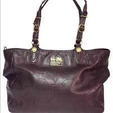 Coach Mia Embossed Medium Dark Brown Leather Tote