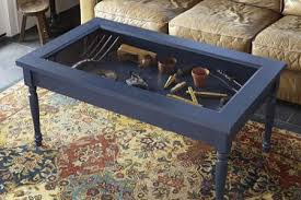 Coffee Table:Coffee Table With Glass Display Case Over Which Time The  Inlays Had Moved