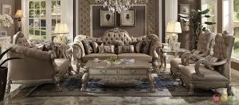 Dresden Victorian Style Bone Velvet Upholstered Living Room Sofa Set