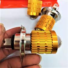 Đèn pha xe máy led 2 chế độ cốt vàng pha trắng siêu sáng , Đèn pha