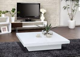 ... Coffee Table, Cozy White Square Laminated Wood Modern Coffee Table Set  Design For Living Room ...