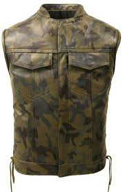leather camouflage biker vest tap to expand