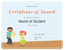 Achievement Awards For Elementary Students Certificates Office Com