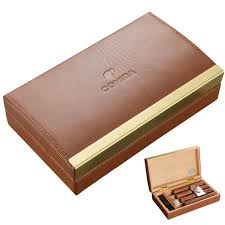 cohiba cowhide cigar humidor box cedar wood moisturizing box portable cigar gift set smoking set