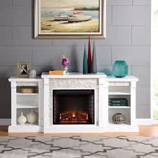 gracewood hollow gould white simulated stone engineered wood poplar harper blvd grissom electric fireplace bookcases with