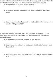 a reaction between hydrazine n 2 h 4 and dinitrogen tetroxide n 2