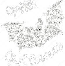 Happy Halloween Floral Vleermuis Kleurplaten Pagina Antistress