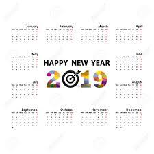 2019 Calendar Template Starts Monday Yearly Calendar Vector Design